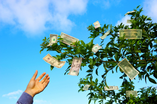 hand reaching up to grab money growing on trees