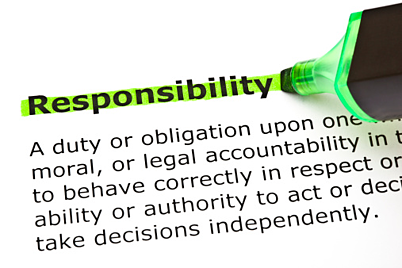 the word responsibility highlighted in green
