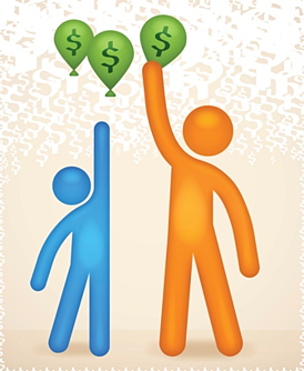 illustration of stick figures reaching for money balloons