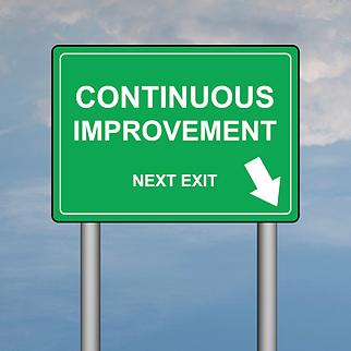 continuous improvement road sign