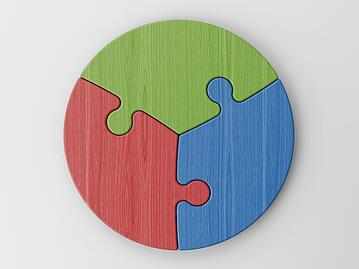 3 puzzle pieces forming a circle