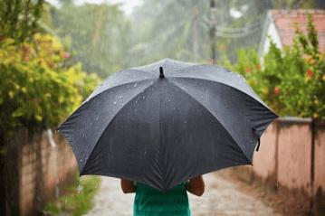 heavy rain and umbrella