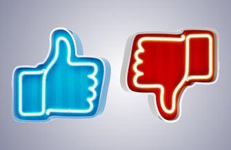 social media thumbs up thumbs down icons