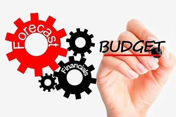 hand writing the word budget next to gears