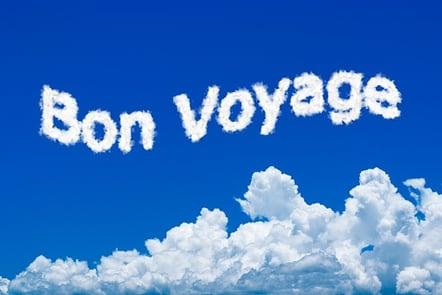 Bon Voyage written in clouds