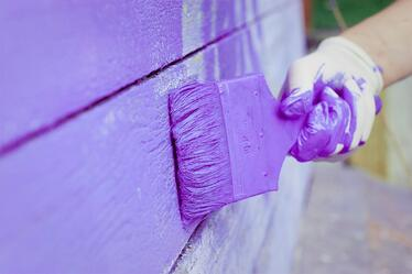 hand painting exterior wall purple