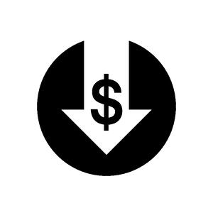 white arrow with dollar sign pointing down