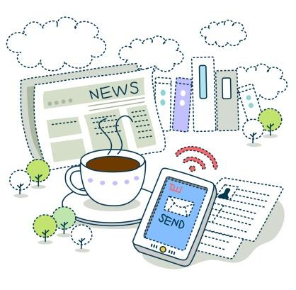 newspaper, coffee, phone clip art image