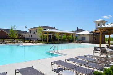 community pool in suburban neighborhood