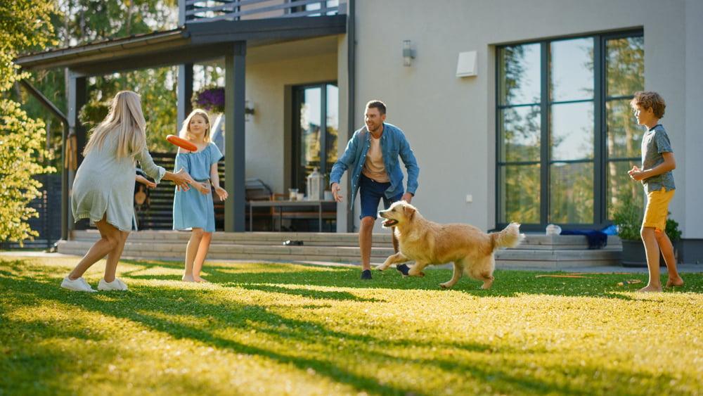 family enjoying backyard during summer